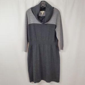Loft Knit Sweater Dress Cowl Neck Long Sleeve Gray